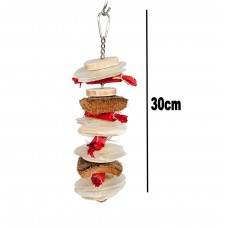 Wooden Bird Toy, With Java Wood, Oyster Shell, Husk & Chain Hanger 30cm