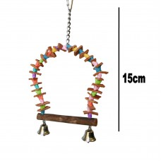 Wooden Bird Swing, With Bells & Chain Hanger 15cm
