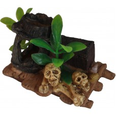Aquarium Ornament, Resin Raft With Skulls & Bones 12cm