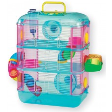 Lazy Bones Hamster Cage Blue Three Storey With Tubes