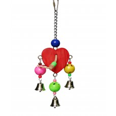Bird Toy, Hanging Wooden Heart With Bells & Beads
