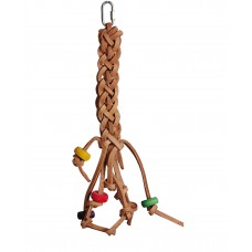 Bird Toy, Hanging leather bird bite with colourful beads